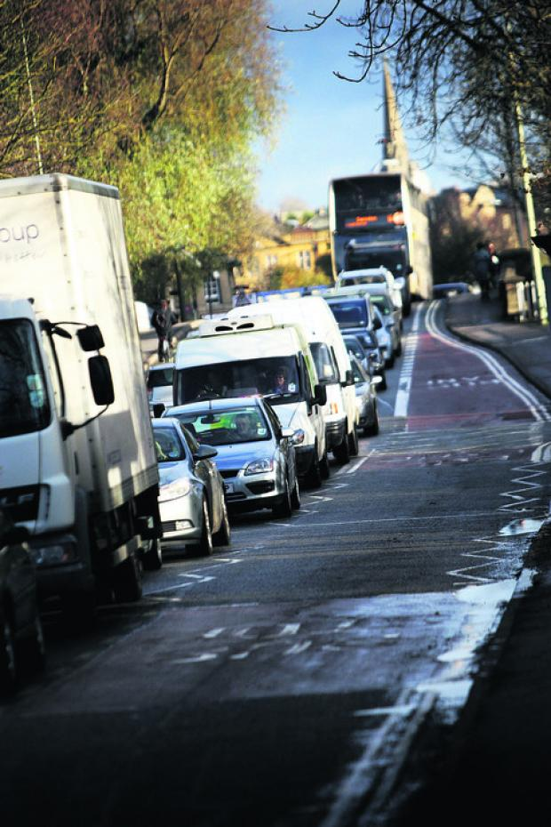 Oxford Mail: Queues on Oxford's Botley Road yesterday