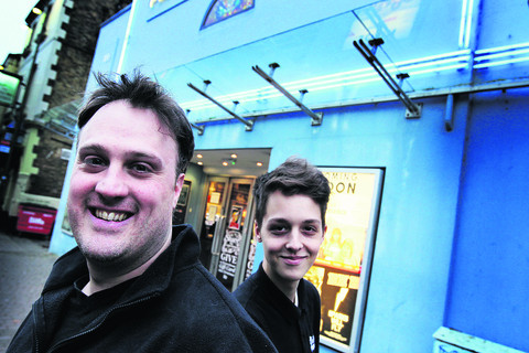 Acting manager Matt Taylor and staff member Jesse Jones outside the Phoenix cinema