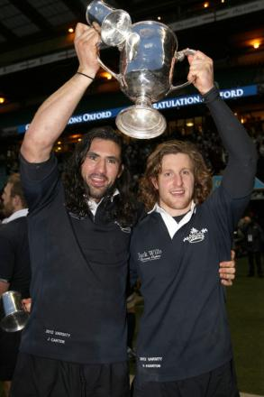 Oxford University captain John Carter (left) and man-of-the-match Sam Egerton celebrate after a third straight victory