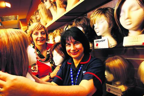Gill Ashwin, left, of Jacqueline's Wigs with Karen Mitchell lead cancer nurse