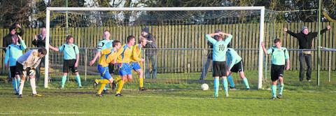 Ardley United  players show their disappointment as Newport score the first goal in their 4-1 victory on Saturday