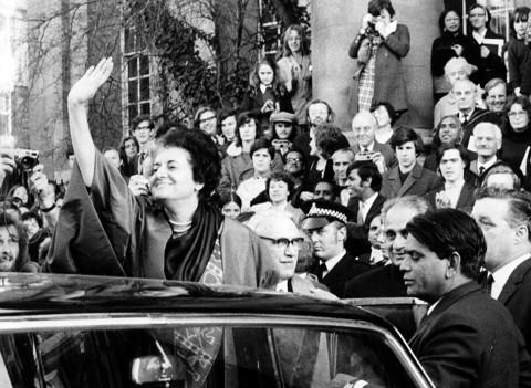 Indira Gandhi during a visit to Oxford in 1971 to receive an honorary degree