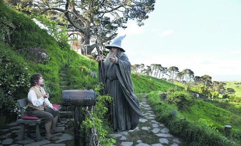 Martin Freeman, as Bilbo, and Sir Ian McKellen, as Gandalf, in a still from the film, which had its premiere in London's Leicester Square last night