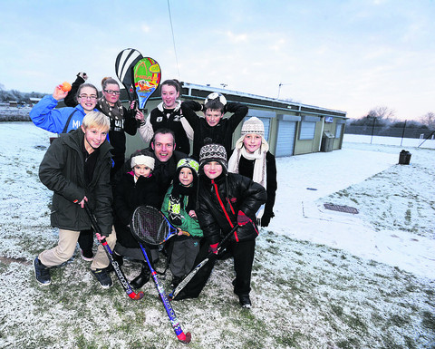 The council is to improve sports pavilions like the one at Barton where the council's executive member for parks and sports, Mark Lygo, is pictured with some sports fans