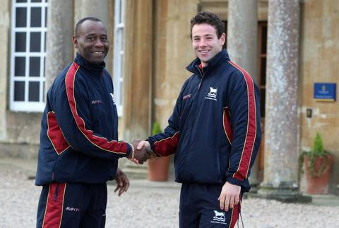 Oxford Mail: Luke Ryan (right) is congratulated on becoming Oxfordshire's new captain by Rupert Evans, the county's head of cricket