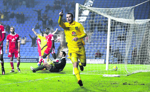 James Constable celebrates the opening goal