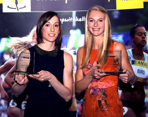 Laura Weightman (left) and Hannah England with their outstanding achievement awards for becoming the first two athletes from the On Camp With Kelly initiative to be selected for an Olympic Games