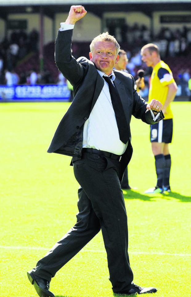 Oxford Mail: Chris Wilder after the U's beat Swindon Town 2-1 last season – their first away derby win since 1973