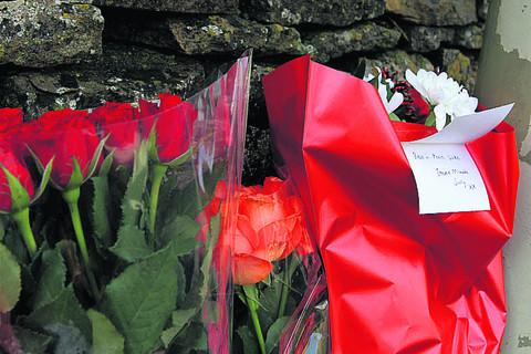 Floral tributes left at the roadside