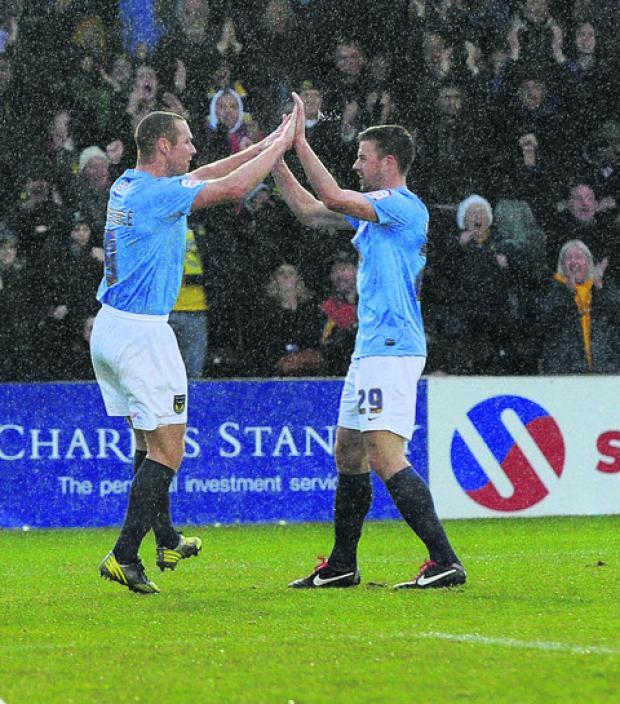 Oxford Mail: James Constable and Tom Craddock celebrate the former's opening goal