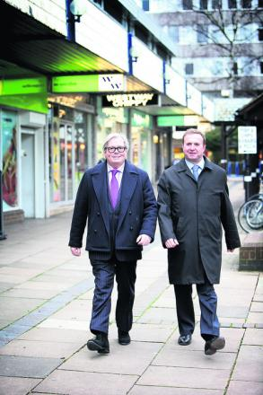 Doric directors John Frazer, left, and Simon Hillcox in the existing outdated shopping centre Picture: OX56641 Damien Halliwell