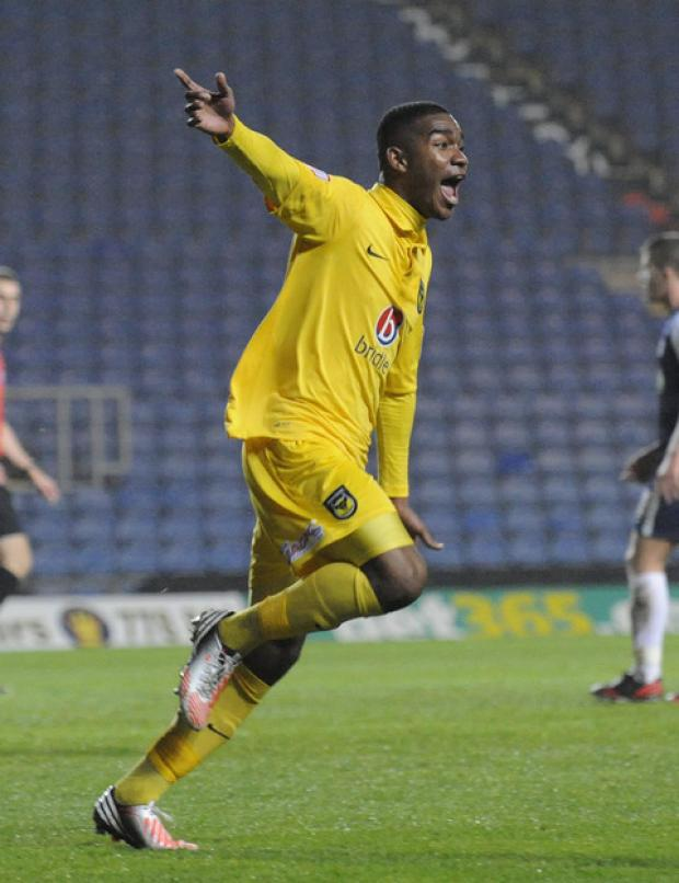 Oxford Mail: Tyrone Marsh wheels away after scoring his first-ever goal for Oxford United against Southend on Tuesday night