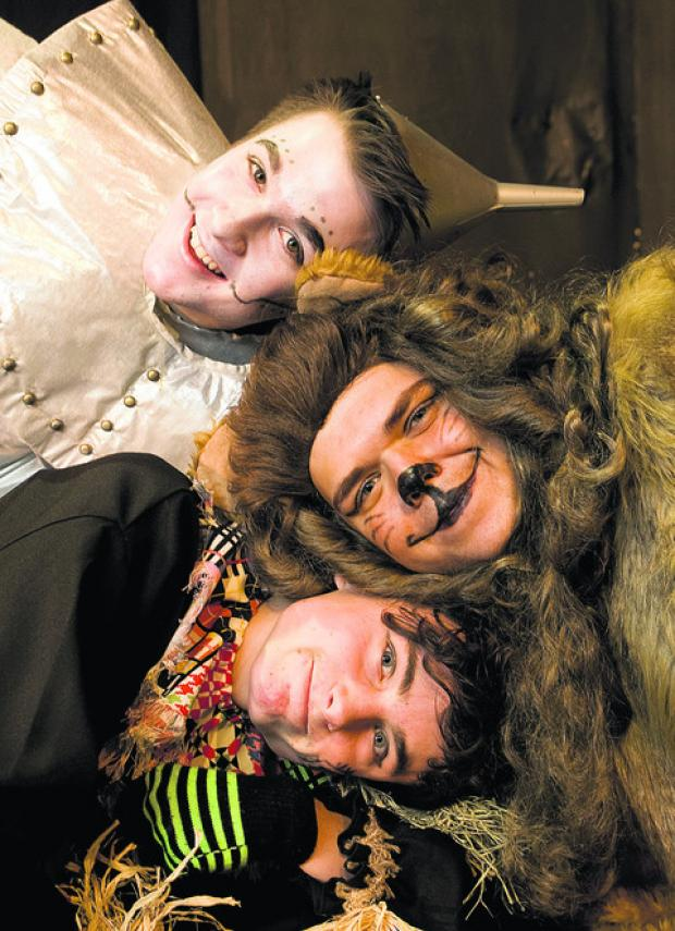 Robbie Fell as The Tin Man,  Ben Coleman as The Lion and Max Griffin as The Scarecrow.