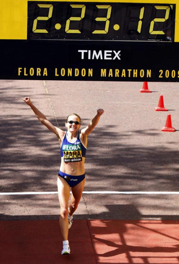 Mara Yamauchi celebrates finishing second in the 2009 London Marathon