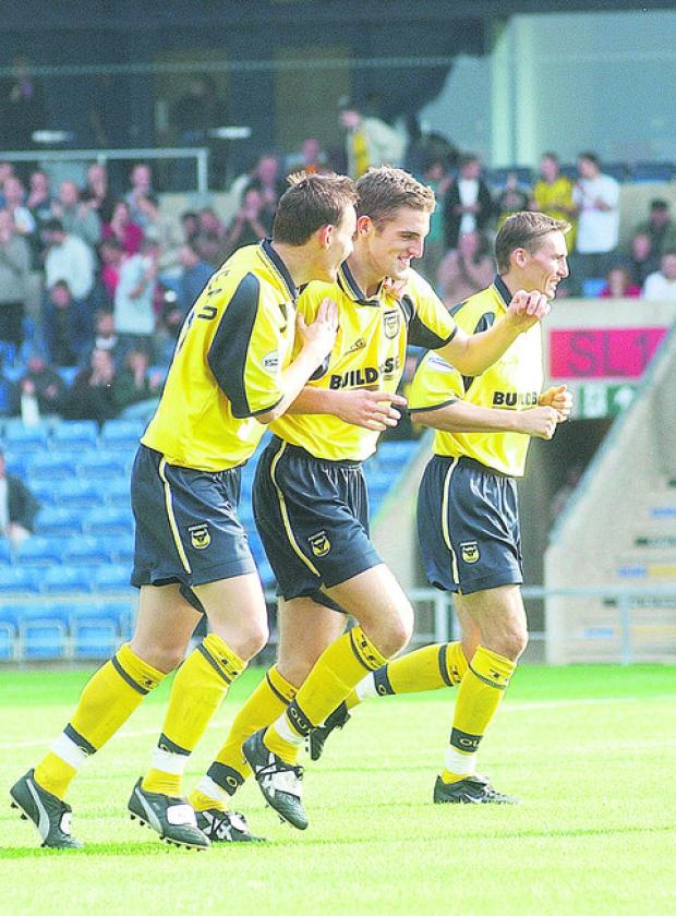 Oxford Mail: Dean Whitehead (left) celebrates a goal from fellow Oxford United youth team product Sam Ricketts back in 2001. Both players have gone on to play in the Barclays Premier League