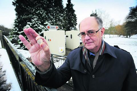 Oxford Mail: Vale opposition leader Richard Webber outside the Hales Meadow superloos in Abingdon