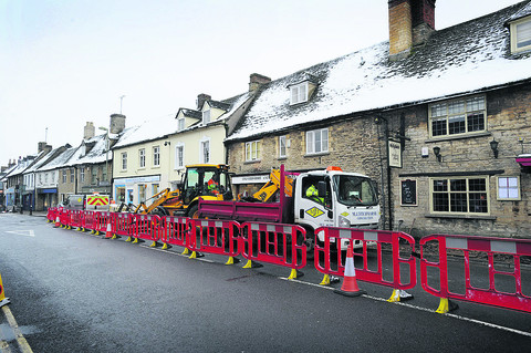 Work begins to upgrade pavements in Corn Street, Witney