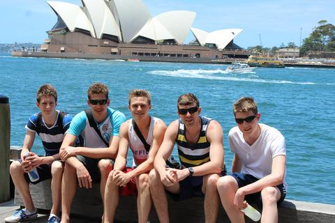 Abingdon Vale's (from left) Michael Esnouf, Alex Murphy, Harry James, Scott Farnell (coach) and Niall O'Leary on a trip in Sydney Harbour