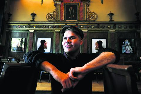 Australian artist Christian Thompson in the dining hall at Trinity College in Broad Street. Picture: OX 57034 Jon Lewis