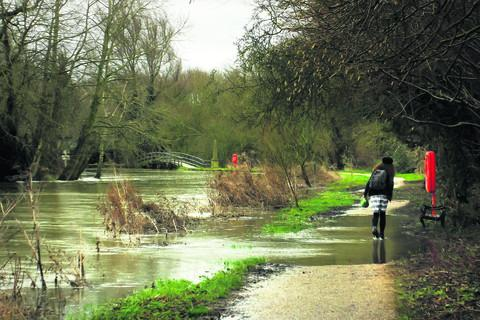 The Thames towpath starting to flood yesterday downstream from Osney Lock