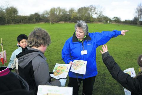 Teacher Jan Harding with children from St Thomas More School, Kidlington