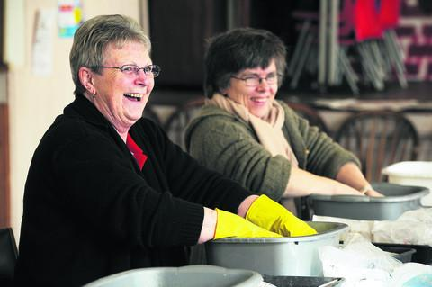 Christine Martin and Kay Gibbons spent about four hours cleaning the finds. Picture: OX57102 Jon Lewis