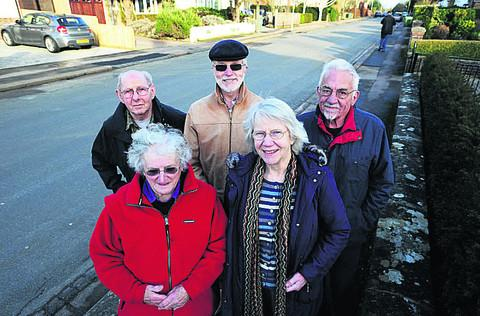 Chairman of the Residents' Association Mike Langford, resident Barbara Hosier, Cllr John Goddard, Cllr Mike Gotch and Cllr Jean Fooks
