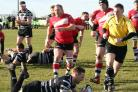 Frank Jones scores Chinnor's opening try against Lydney