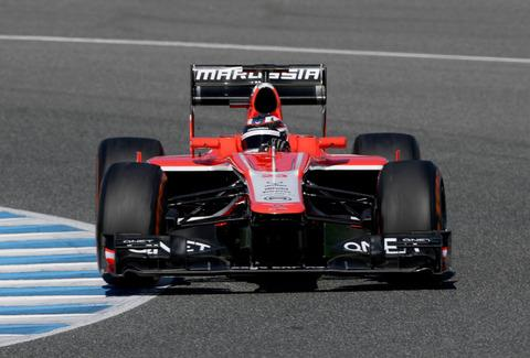Max Chilton puts the Marussia MR02 through its paces at the Circuito de Jerez