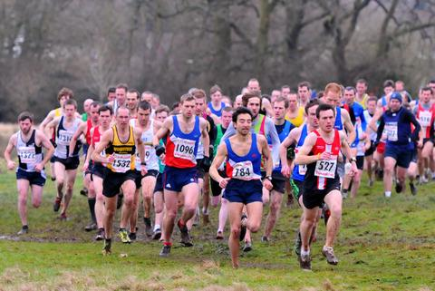 The start of the men's race at Lawns Park, with Oxford City's David Bruce (784) battling Cirencester's Chris Illman (527) for the lead. Oxford City's Aaron Burgess (1096) and Woodstock's James Bolton (1532) are on their trail