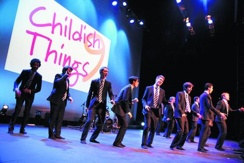 A capella group Out of the Blue perform at the Childish Things show