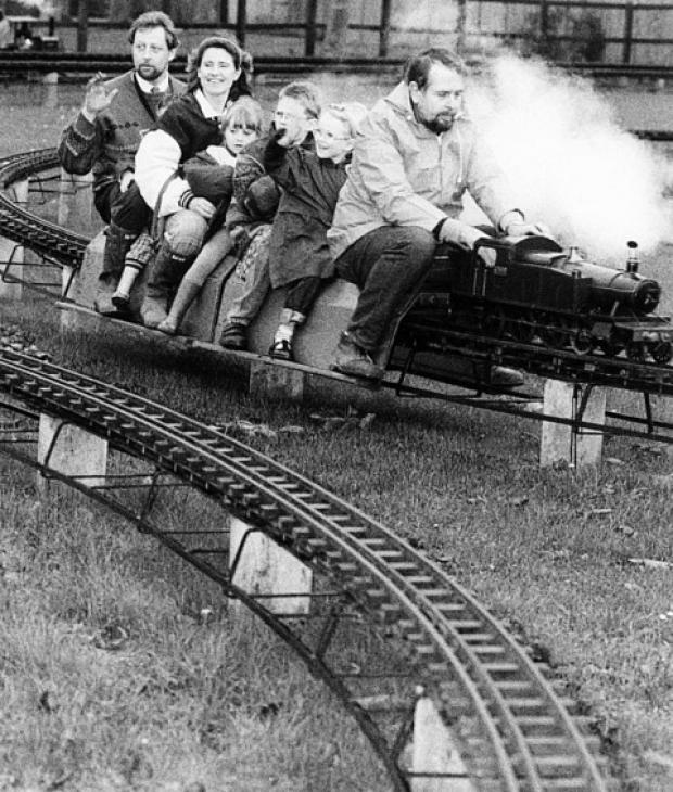 Enjoying a ride on the mini-railway at Cutteslowe Park in 1994