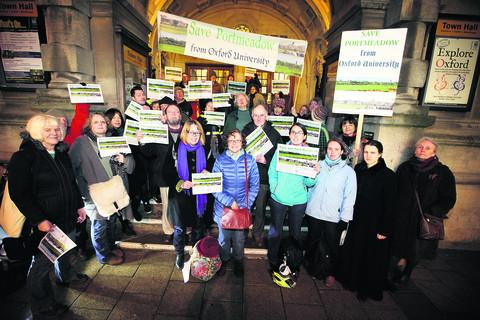 Save Port Meadow protesters at Oxford Town Hall on Thursday night