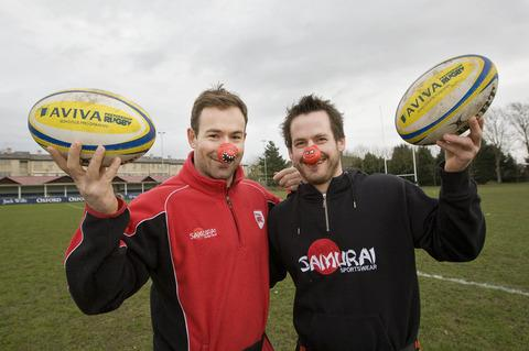 Players Paul Mackey (left) and Mike Denbee getting into the spirit for Red Nose Day