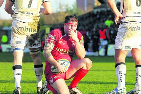 London Welsh hooker Neil Briggs looks on ruefully after being ruled held up in the second half