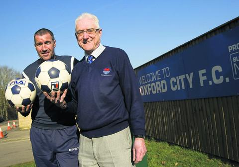 Mike Ford, left, and Brian Cox at Oxford City Football Club