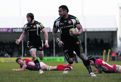 Exeter's Sireli Naqelevuki races in for another try as the Welsh defence are beaten once again in a one-sided second half