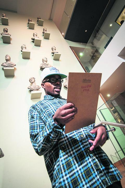 Macka Tapa recites his museum-inspired rap.Picture: OX57522 Andrew Walmsley