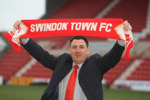 New Swindon Town chairman Jed McCrory at a press conference yesterday following the takeover of the Wiltshire club by a consortium he heads