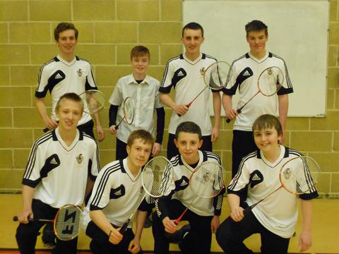 Back (from left) Henry Box School's under 16  team of James Currah, Ben Evans, Joe Roberts and Tom Weston and (front) the under 14 team of Ashley Garrison, Elliott Heritage, Ben Roberts, Tom Hayes