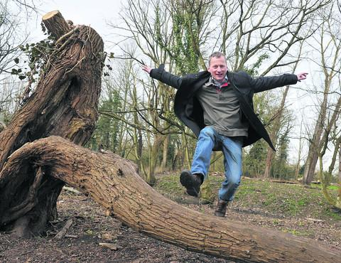 Leap of faith: Director Colin Shone in the wood trail area of Cogges Manor Farm