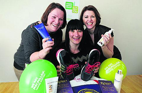Natalia Cox, centre, with pamper partners Helen Johnson, left, and Mandy Flack