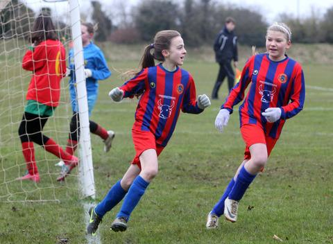 Tower Hill Vixens' Abigail Greenfield celebrates scoring in her side's 3-1 victory against Carterton in the Under 13 League Cup