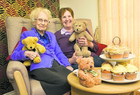 Joan Brown, 99, and visitor Maureen Scaysbrook at Iffley Residential and Nursing Home's teddy bears' picnic