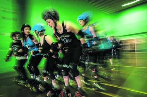 Mared Thomas, front, and the Oxford Roller Derby skaters