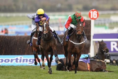 Lord Windermere (left) battles it out with Lyreen Legend after Boston Bob fell at the last in the RSA Chase