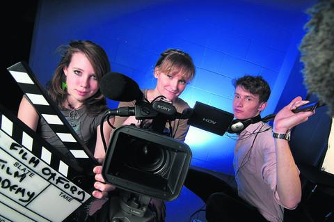 Film Oxford students, pictured from left, Rosie Whiter, 17, Daisy Oldershaw, 17, and Luke Robson, 19. Picture: OX57864 Andrew Walsmsley
