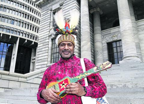 Benny Wenda outside the New Zealand Parliament. Picture: Mark Mitchell/New Zealand Herald