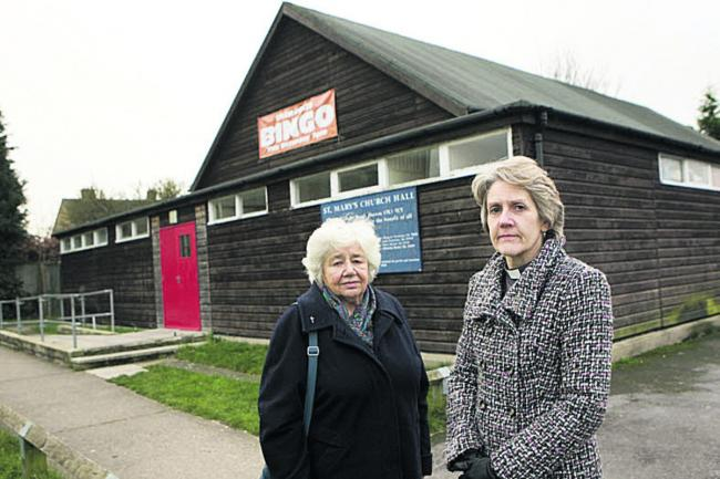 The Rev Maggie Thorne, right, and hall manager Sheila Fulham outside St Mary's Church hall