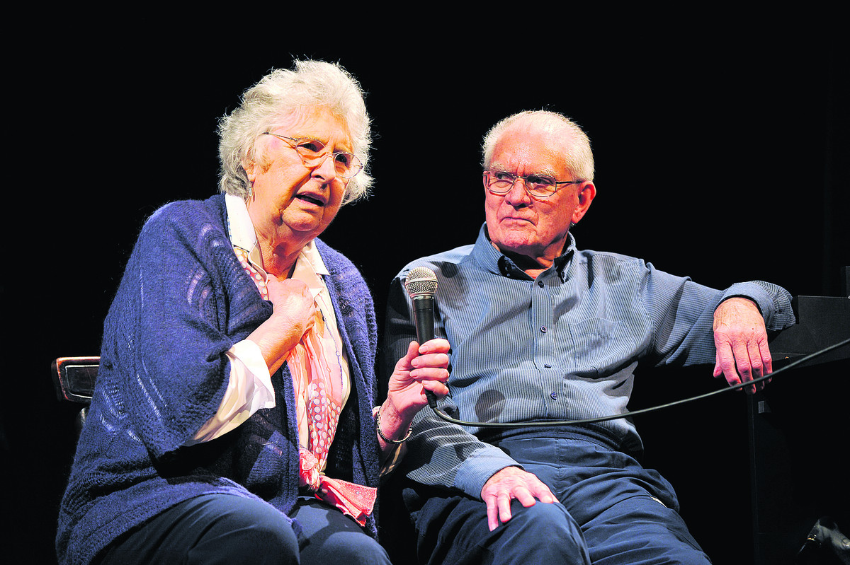 Jan and Ralph Burrage on stage at The Theatre in Chipping Norton